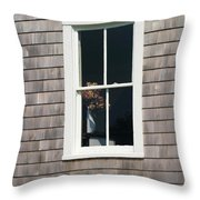 Window With Hydrangea On The Vineyard Throw Pillow