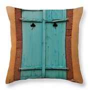 Window With Turqouise Shutters In Colmar France Throw Pillow