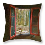 Window With View Abandoned Elkmont Log Cabin Autumn Throw Pillow