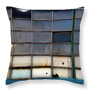 Windows In Blue Building 2 Throw Pillow
