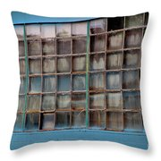 Windows In Blue Building 3 Throw Pillow