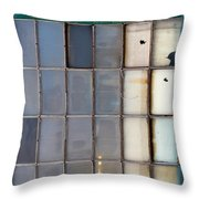 Windows In Blue Building Vertical Throw Pillow