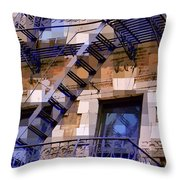 Windowscape 7 - Old Buildings Of New York City Throw Pillow