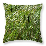 Windswept Cattails Throw Pillow