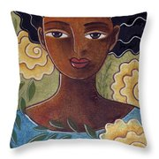 Windswept With Roses Throw Pillow