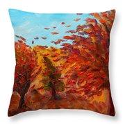 Windy Autumn Day Throw Pillow