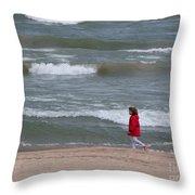 Windy Beach Walk Throw Pillow