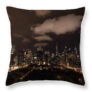 Windy City At Night Throw Pillow