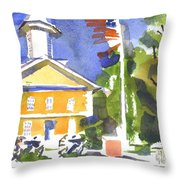Windy Day At The Courthouse Throw Pillow