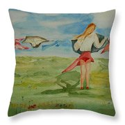 Windy Day Funny Watercolor Throw Pillow
