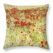 Windy Poppies At The Fields Throw Pillow