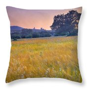 Windy Sunset At The Medieval Castle Throw Pillow