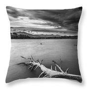 Windy Sunset Monochrome Throw Pillow