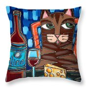 Wine And Cheese Cat Throw Pillow