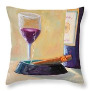 Wine And Cigar Throw Pillow