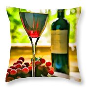 Wine And Grapes In The Window Throw Pillow