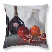 Wine And Pomegranates Throw Pillow