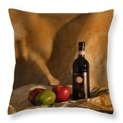 Wine Apples And Cheese Throw Pillow