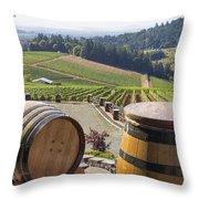 Wine Barrels In Vineyard Throw Pillow