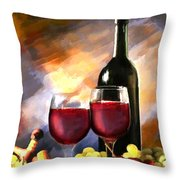 Wine Before And After Throw Pillow