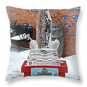 Wine Bottle Ice Sculpture Throw Pillow