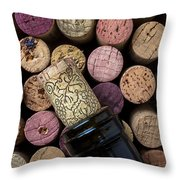 Wine Bottle With Corks Throw Pillow
