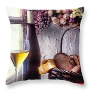 Wine Bottle With Glass In Window Throw Pillow