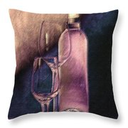 Wine Bottle With Glasses Throw Pillow