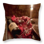 Wine By Candle Light I Throw Pillow