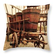 Wine Cart In Alsace France Throw Pillow by Greg Matchick