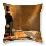 Wine Cherries And Cheese Throw Pillow