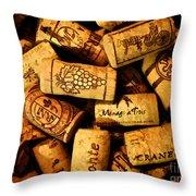 Wine Corks - Art Version Throw Pillow