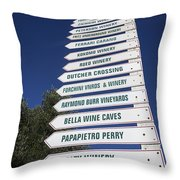 Wine Country Signs Throw Pillow