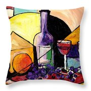 Wine Fruit And Cheese For Two Throw Pillow