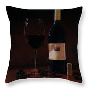 Wine Glass And Bottle Throw Pillow