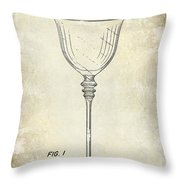 Wine Glass Patent Drawing Throw Pillow