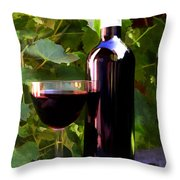 Wine In The Sunset Throw Pillow by Elaine Plesser