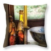 Wine - Nestled In A Corner Of A Window Sill  Throw Pillow by Mike Savad
