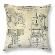 Wine Press Patent 1903 Throw Pillow