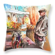 Wine Vendor In A Provence Market Throw Pillow