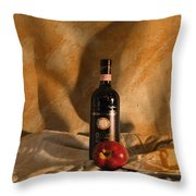 Wine With An Apple And Cheese Throw Pillow