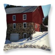Winery Barn In Winter Throw Pillow by Desiree Paquette