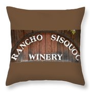 Winery Sign Throw Pillow