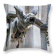 Winged Gargoyle Duomo Di Milano Italia Throw Pillow
