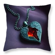 Winged Heart With Red Gem Throw Pillow