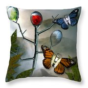 Winged Metamorphose Throw Pillow by Billie Jo Ellis