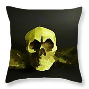 Winged Skull Two Throw Pillow
