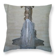 Winged Victory Of Samothrace Throw Pillow by Karen Maxwell