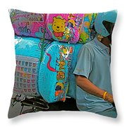 Winnie The Pooh On A Scooter In Bangkok-thailand Throw Pillow