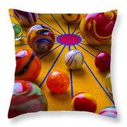 Winning At Marbles Throw Pillow